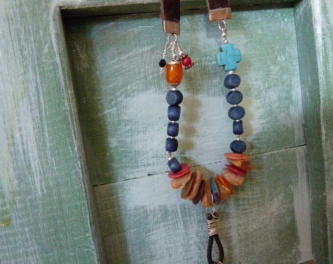 Boho leather & gemstone necklace
