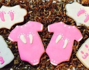 Pink Baby Shower onesie cookies - girl sprinkle shower cookies - baby shower favor cookies