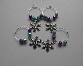 pastel shades snowflake wine glass charms