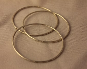 Set of 3 Sterling Silver Textured Bangles