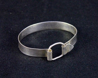 Sterling Silver Bangle with a Square Ring Closure
