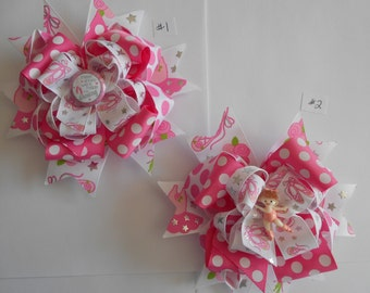 "Ballet hairbows Pink Girly hair bows Boutique Hair bows girls bows Large 6"" Bows"