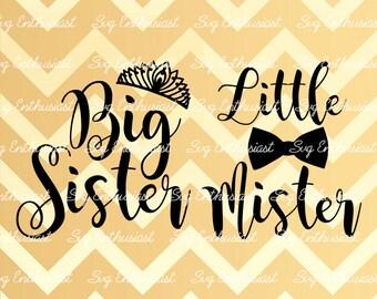 Big sister SVG, Little Mister svg, Brother sister svg, Baby svg, Tiara svg, kids wear svg, Siblings SVG, Cricut, Dxf, PNG, Eps, Clip Art,