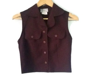 Vintage Vest Button up 90s Soft Grunge Color Burgundy Size Extra Small