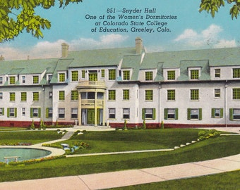 Postcard Snyder Hall Woman's Dorm Colorado State University Postcard Paper Ephemera Collectible Greeley Colorado