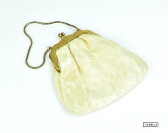 Vintage Handbag Purse Clutch Tulle Brass