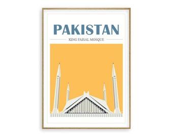 Mosque Illustration Pakistan - Islamic Home Decor, Islamic Decor, Islamic Print, Islamic quote, Muslim Art