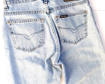 Vintage harley davidson, lived in, washed out, soft boyfriend jeans.