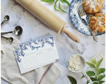Blue & White Floral Recipe Cards