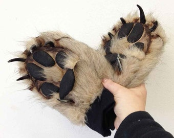Wolf Paw Gloves. Realistic animal costume feet, hands, for men, women. Luxury faux fur paws, animal friendly materials. Handmade timber wolf