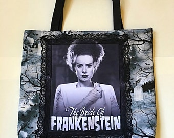 The Bride of Frankenstein Horror Tote Bag Purse