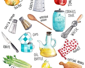 Kitchen illustration set, handmade watercolor illustration. Foodies, yummies, cooking tools, wall illustration. Digital download High res