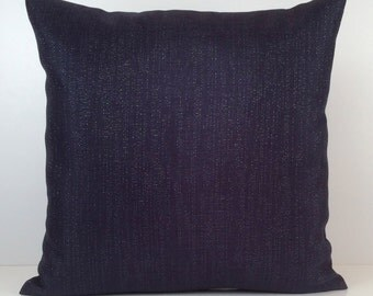 Dark Navy Blue Pillow, Throw Pillow Cover, Decorative Pillow Cover, Cushion Cover, Pillowcase, Accent Pillow, Linen Blend, Silver Sparkles
