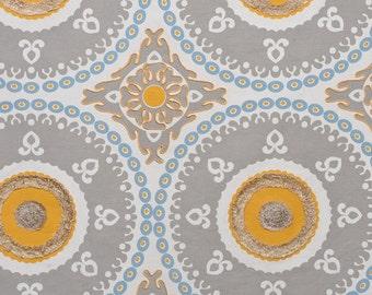 DESIGNER ETHNIC Chic SUZANI Medallions Fabric 10 Yards Grey Yellow Multi