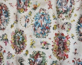DESIGNER HEAVENLY ANGELS Cherubs French Toile Fabric 10 Yards Multi