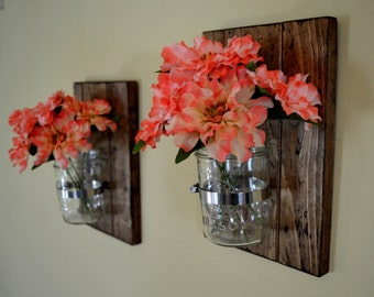 Set of 2 Mason Jar Wall Decor -Distressed Rustic Mason Jar -Rustic Wall Decor - Spring Decor -Mason Jar Planter -Wall Sconce - Best Seller