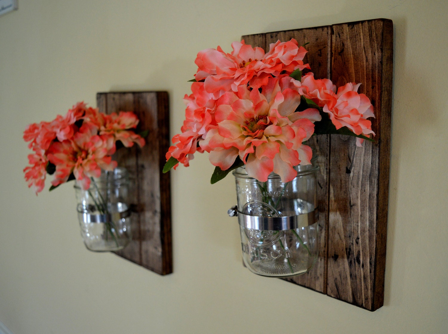 Wall vases for flowers - Set Of 2 Mason Jar Wall Decor Distressed Rustic Mason Jar Rustic Wall Decor Spring Decor Mason Jar Planter Wall Sconce Best Seller
