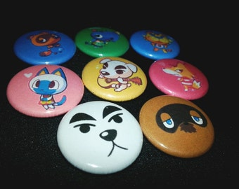 8 one-inch Animal Crossing button pins