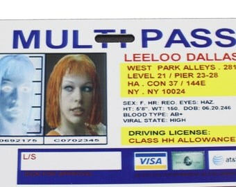 Fifth Element Multipass Leeloo Dallas Prop ID Badge