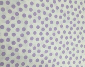 Lavender Polka Dot Print Cotton Fabric - By the Yard