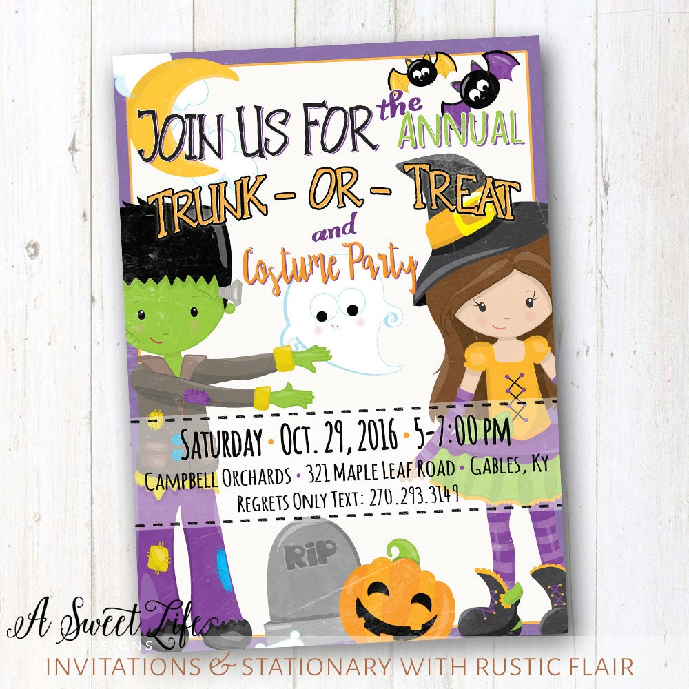 event flyer halloween party invitation trunk or treat flyer costume party kids trick or treat halloween birthday party invite haunted house