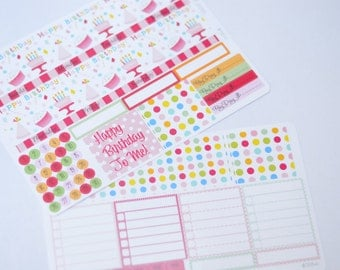 Birthday Monthly Spread Kit Planner Stickers Removable Matte  or Glossy Stickers Erin Condren