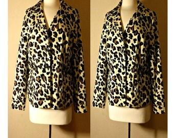 Women's coat, leopard print coat, leopard print, animal print, fashion coat, dress coat, leopard, women's jacket, blazer, retro, Plus Size