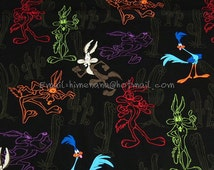 wb004 - 1 Yard SDLP Cotton Woven Fabric - Cartoon Characters, Looney Tunes Coyote and Roadrunner - Dark Brown (W140)