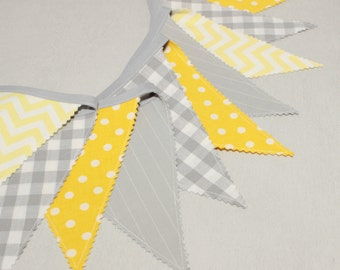 Bunting  Banner, Fabric Garland 6.5 ft , Grey & Yellow Nursery, Scandinavian Nursery, Yellow Bunting Flags, Baby Shower Decorations