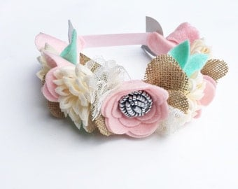 Shabby Chic Birthday Outfit - Burlap Baby Headband - Felt Flower Crown - Flower Girl Crown- Flower Girl Headband - Cake Smash Prop - Newborn