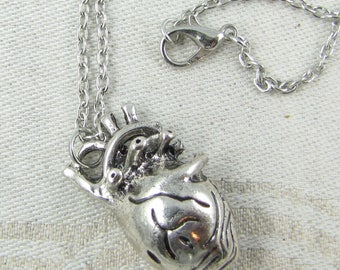 Silver Anatomical Heart Pendant and Chain, 1 per package NEC014