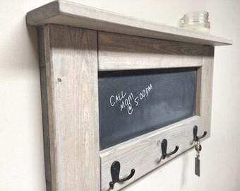 Rustic Wooden Entryway Grey Coat Rack, Rustic Wooden Shelf, Entryway Rack, Coat Rack, Rustic Home Decor, Rustic Furniture, chalkboard