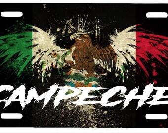 "Campeche Mexico Aluminum License Plate Placa  6"" x 12"""