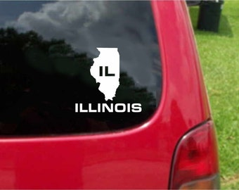 2 Pieces Illinois IL State USA Outline Map Stickers Decals 20 Colors To Choose From.  U.S.A Free Shipping