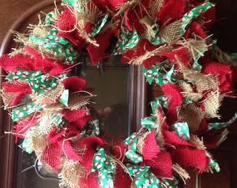 Handmade Christmas Rag Wreath