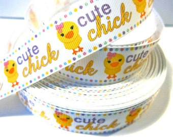 1 inch EASTER Cute Chick on White - Bunny Rabbit Printed Grosgrain Ribbon for Hair Bow