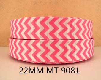 7/8 inch PINK and WHITE Vertical CHEVRON  9081 -  Printed Grosgrain Ribbon for Hair Bow