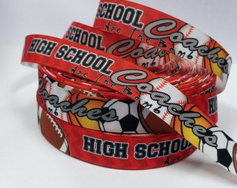 7/8 inch Red/Orange High School Coaches Are the Bomb -Sports- Baseball Basketball Soccer Football - Printed Grosgrain Ribbon for Hair Bow