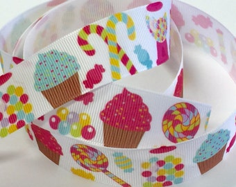 1 inch Candies and Bubblegum - Candy Bubble Gum  -  Printed Grosgrain Ribbon for Hair Bow