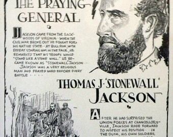 1931 Stonewall Jackson Minute Biography Matted Vintage Print