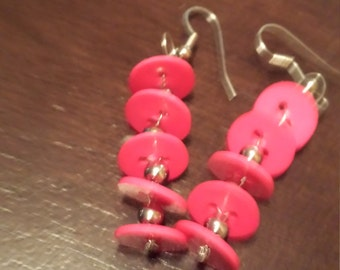 Pink Button Dangle Earrings