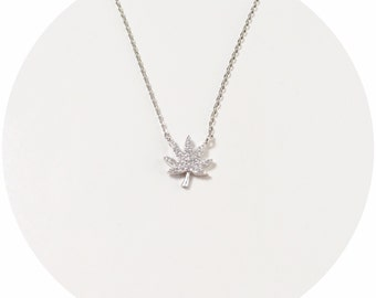 Dainty Pave Cannabis Necklace