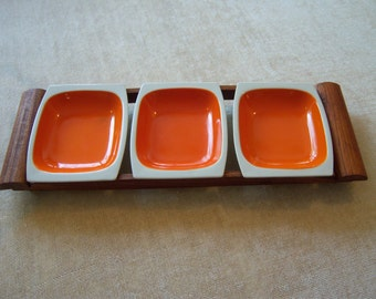 Three compartment retro style snack tray/Orange and white ceramic snack bowls/Dark stained pine stand/Entertaining/Organization and display