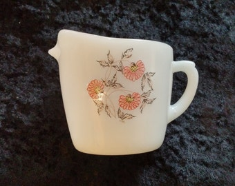 Fire King White Creamer with Floral Design