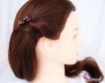 6 purple decorative hair pins