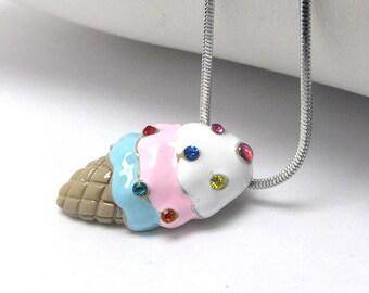 Swarovski Crystal Miniature Ice Cream Cone Sprinkles Jewelry Pendant Necklace Gift Box