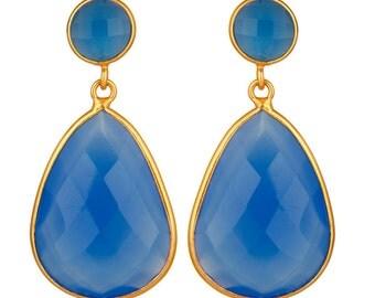 Blue Chalcedony Earring, Gemstone Earrings, Gold Plated Jewelry, Teardrop Earring, Dangle Earrings, Bridesmaid Earring, Wedding Earring