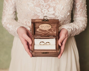 Personalized wedding ring box. Rustic wooden ring box. Rustic ring holder. Ring bearer. Unique handwritten personalization.