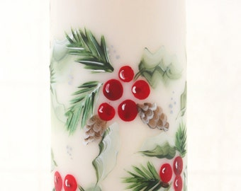 Christmas Pillar Candle Holly and Pinecones Handpainted LED or Wax