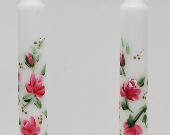 Hand Painted Taper Candles roses